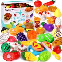 FLY2SKY 60 Pcs Play Food Toys for Kids Kitchen Pretend Cutting Toys Fruits Food Cake Play Set Christmas Birthday Gifts for Toddlers Girls Boys Learning Toys with Storage Bag