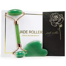 Jade Roller & Gua Sha Set - Face Roller Massage Tool, Green Aventurine Applicator for Face, Neck and Body Muscle - Relaxing and Stimulating Blood Flow, Relieve Fine Lines & Wrinkles