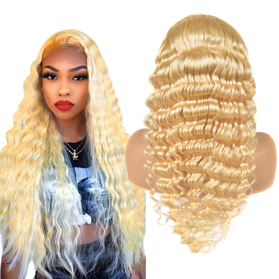 13x6 613 Lace Front Wig Deep Wave Glueless Wig Deep Free Part Pre Plucked Wigs With Baby Hair 130 Density Swiss Lace Real Hair Wig Wet And Wavy Wig Cheap Wigs For Black Women 18 Inch