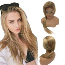 """Balayage Highlighted Lace Front Human Hair Wig Pre Plucked Golden Brown to 613 Blonde Highlights 150% Density Straight Brazilian Remy Human Hair Glueless Lace Wig Full Head for White Women 16"""""""