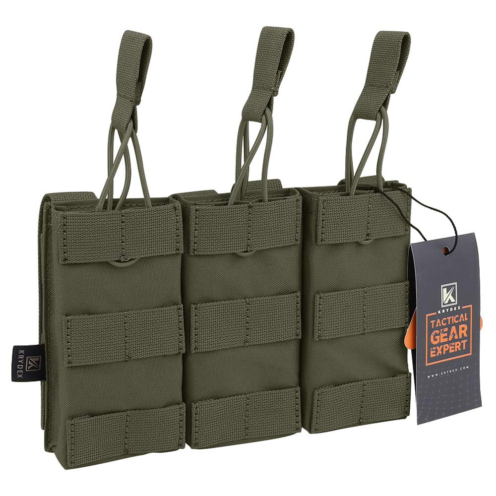 KRYDEX Tactical MOLLE Triple Open-Top M4 M16 Mag Pouch with MOLLE Strap