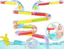 oUUoNNo Kids Bath Toys Fun Slide Splash Water Ball Track Stick with Suction Wheels Bathroom DIY Builder Blocks Toys Summer Children Bathtub Toy for Kids Boys Girls Age 1 2 3 4 5 6 7 Years Old
