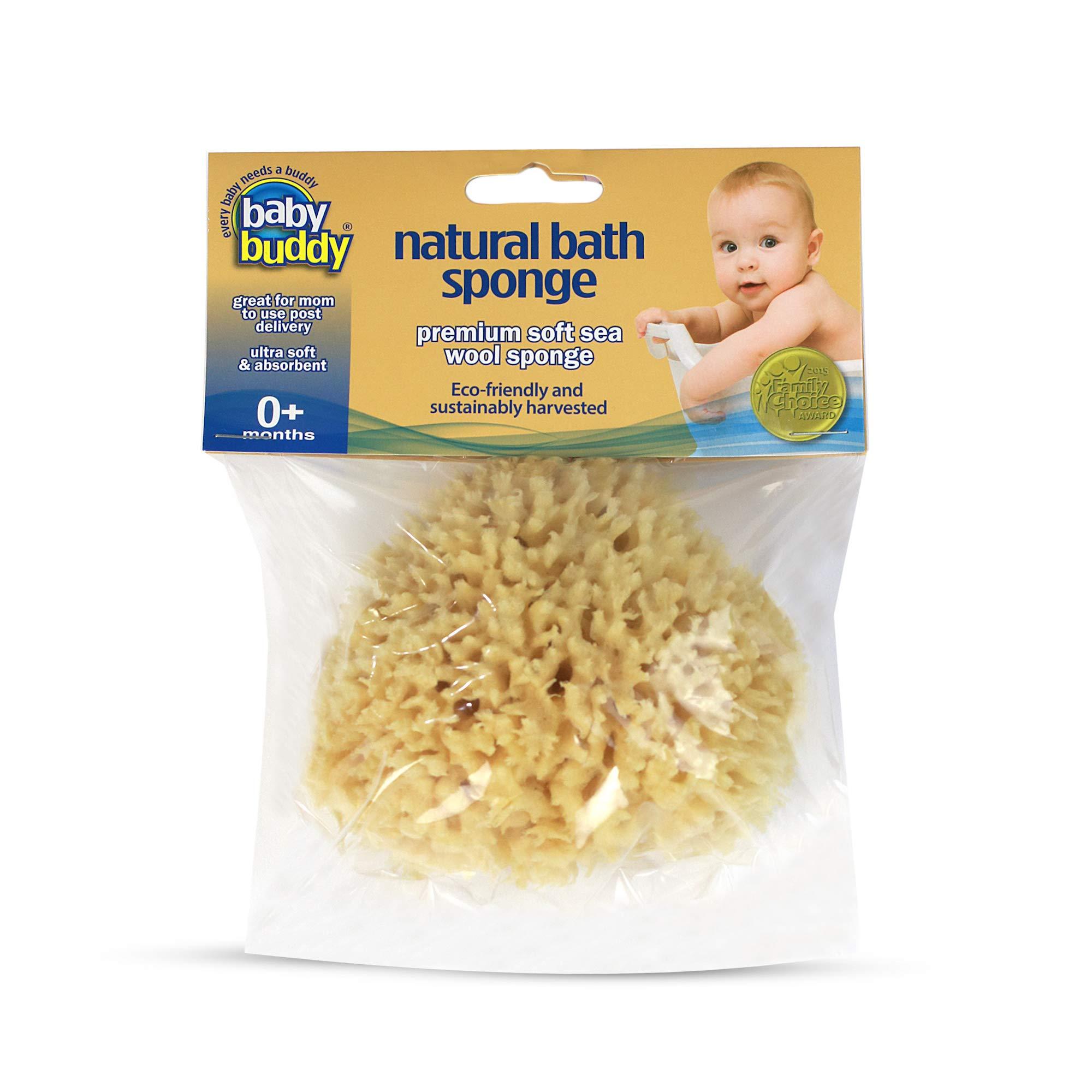 "Baby Buddy's Natural Baby Bath Sponge 4-5"" Ultra Soft Premium Sea Wool Sponge Soft on Baby's Tender Skin, Biodegradable, Hypoallergenic, Absorbent Natural Sea Sponge"