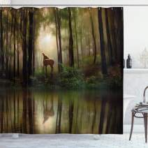 """Ambesonne Nature Shower Curtain, Baby Deer in The Forest with Reflection on Lake Foggy Woodland Graphic, Cloth Fabric Bathroom Decor Set with Hooks, 70"""" Long, Fern Green"""