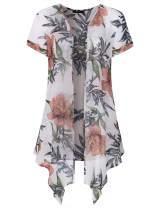 Marbetia Women's Floral Print Short Sleeve Irregular Hem Kimono Sheer Chiffon Loose Cardigan