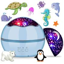 360° Rotating Night Light Projector for Kids, MIANTANG 2 in 1 Starry Sky and Sea World, 8 Colors Baby Night Lights Projector, Best Gift for Children Bedroom Birthday Party Festival (Blue)