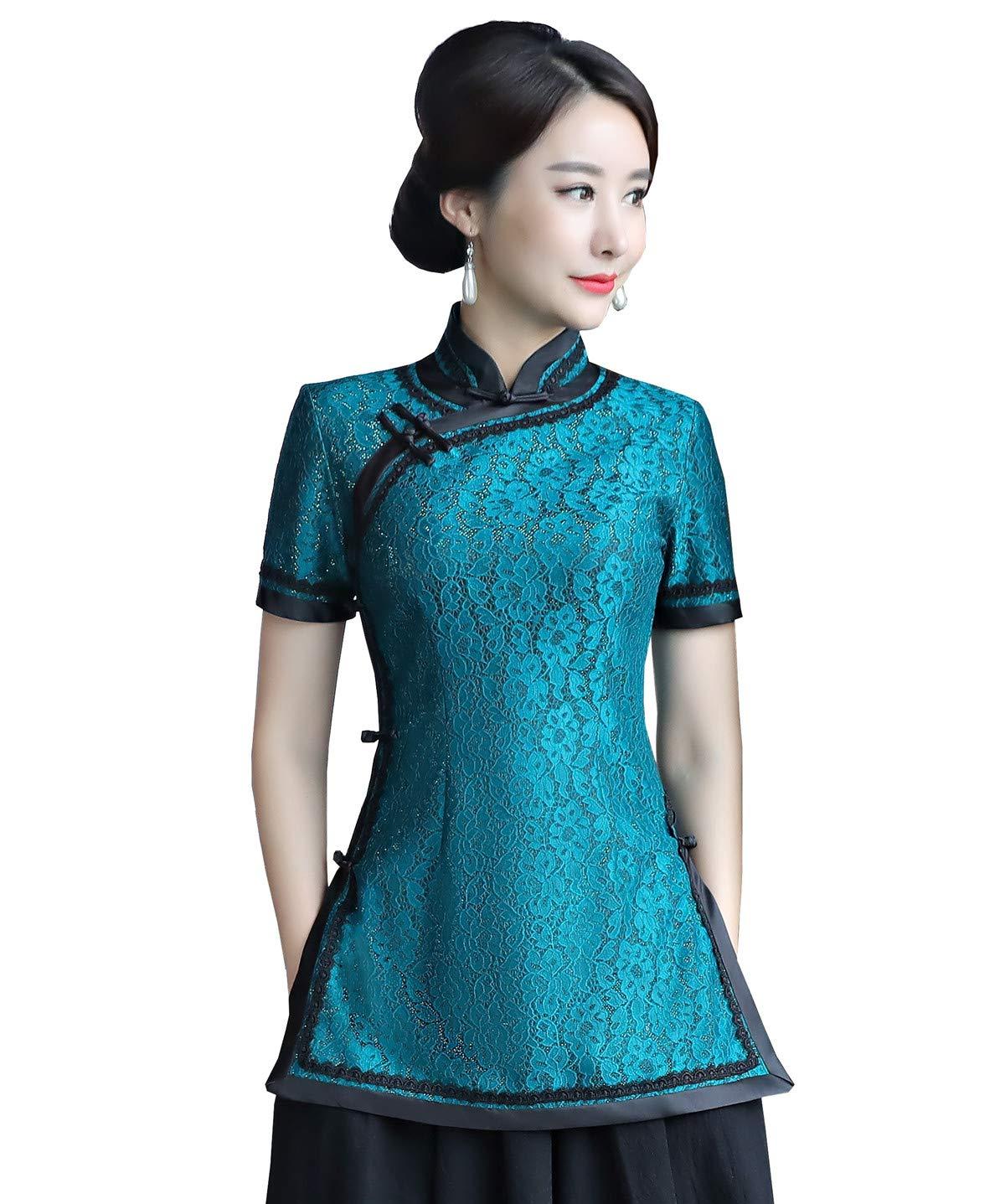Shanghai Story Lace Short Sleeve Cheongsam Top China Qipao Shirt Chinese Blouse with Black Linen Skirt