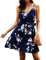 POGTMM Women Summer Dresses Sleeveless V Neck Floral Printed Casual Swing Mini A-line Dress with Belt