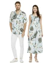 Couple Matching Hawaiian Luau Aloha Shirt Maxi Tank Dress in Pink Hibiscus Vine