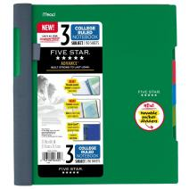 """Five Star Advance Spiral Notebook, 3 Subject, College Ruled Paper, 150 Sheets, 11"""" x 8-1/2"""", Green (73136)"""