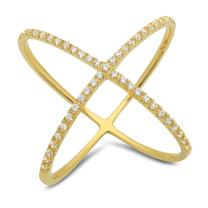 Clara Pucci 0.58 CT Round Cut CZ Pave Solitaire Contemporary Cross Designer Ring Band Solid 14k Yellow Gold