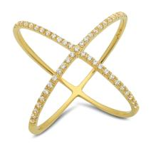 Clara Pucci 0.68 Ct Round Cut Pave Promise Engagement Contemporary Cross Design Bridal Anniversary Ring Band 14K Yellow Gold