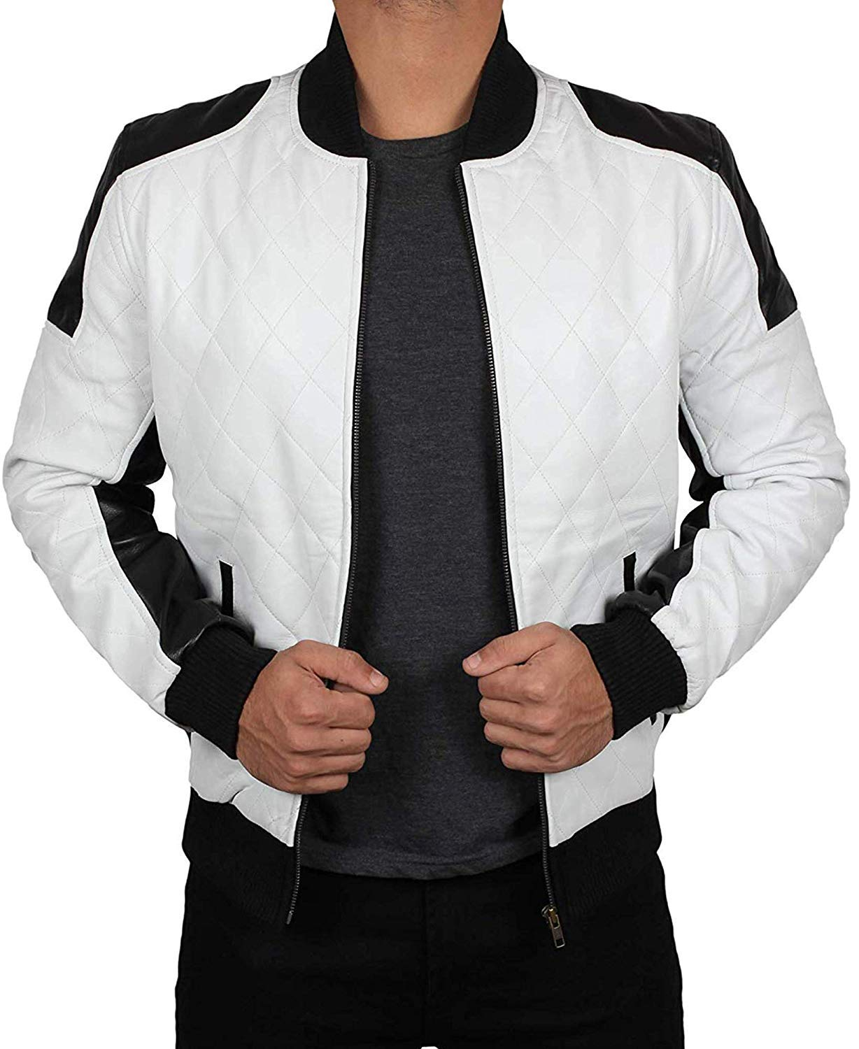 Decrum Leather Bomber Jackets for Men - Black and Brown Lambskin Bomber Jackets