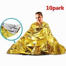 """STARTONECO Emergency BlanketSpace BlanketSurvival Blanket Waterproof Mylar Thermal Foil Blanket 52"""" x 82"""" for Outdoor, Survival, Camping, Hiking, Marathons, Homeless, First Aid (Pack of 10)"""