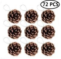 FunPa Pine Cones, 72Pcs Wedding Hanging Pinecone Ornaments Xmas Tree Ornaments Party Supplies