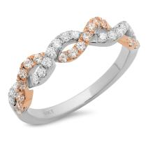 Clara Pucci 0.7 Ct Round Cut Pave Twirl Promise Wedding Engagement Bridal Anniversary Ring Band 14K White Rose Gold
