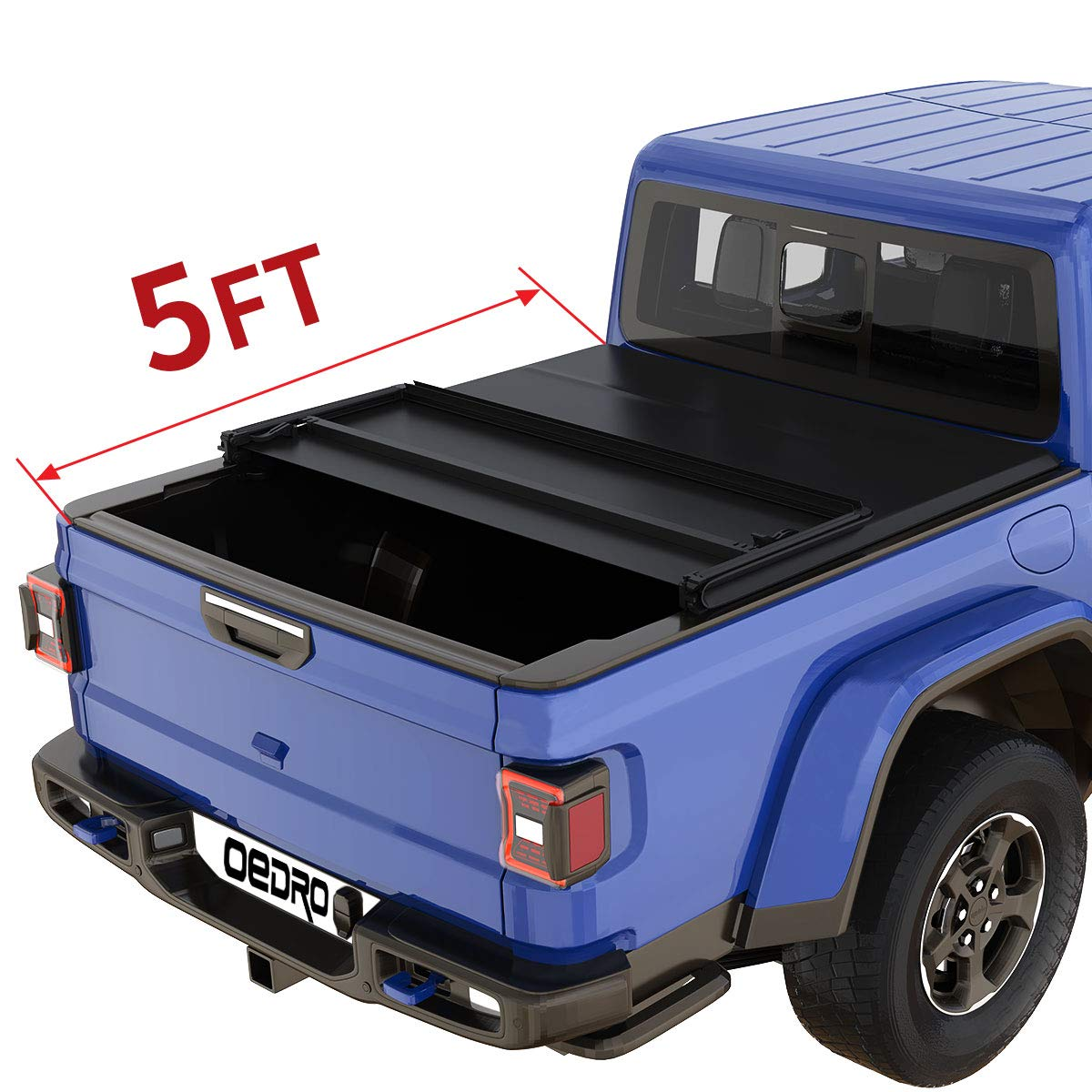 oEdRo Soft Tri-fold Truck Bed Tonneau Cover Compatible with 2020 Jeep Gladiator, Fleetside 5 Feet Bed