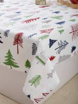 """Plush Home Table Cloth - Pine Trees Design, 100% Cotton, Rectangular Table Cloth of Size 60""""X84 Inch, Eco - Friendly & Safe."""