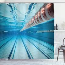 """Ambesonne Sports Shower Curtain, Swimming Pool Underwater View Relaxing Exercise Hobby Leisure Activity Theme Picture, Cloth Fabric Bathroom Decor Set with Hooks, 75"""" Long, Sky Blue"""