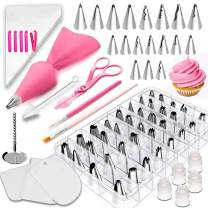 83 Pieces Cake Decorating Kits in a Box, Stainless Steel Icing Piping Nozzle Tip Set with 44 Icing Tips, Baking Frosting Tools Set for Cupcakes Cookies or Whipped Cream Clay for Making DIY at home