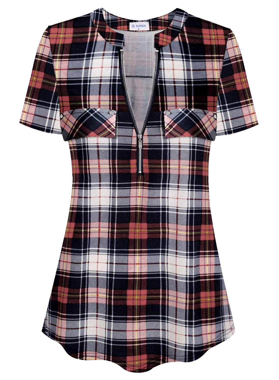 Bulotus Women's Zip Front V-Neck Short Sleeve Work Casual Top Blouse Shirt (Solid and Plaid)