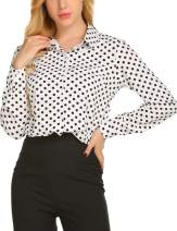 SE MIU Women's Chiffon Long Sleeve Polka Dot Office Button Down Blouse Shirt Tops