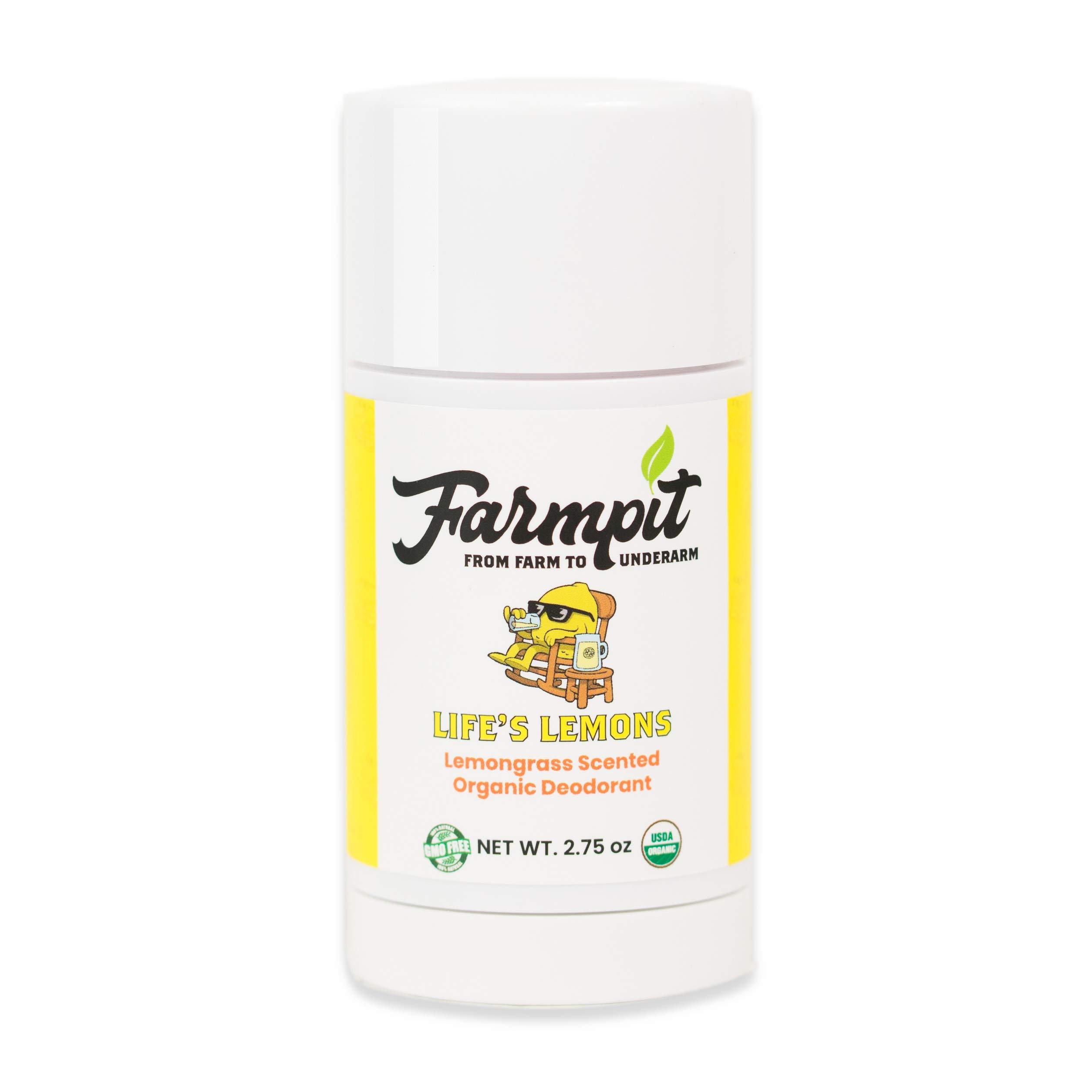 Farmpit All Natural Deodorant - USDA Certified Organic - Aluminum, Paraben, Propylene, Gluten, Cruelty and Baking Soda Free - for Men or Women - Stay Fresh All Day (Life's Lemons)