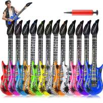 12 Colors 35 Inch Inflatable Guitar Toy, Rock Star Inflatable Electric Colorful Guitar, Rock 'N Roll Party Favor for 80s 90s Themed Party, Children's Birthday Party Decorations and Karaoke Party