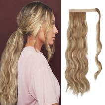 FESHFEN Long Wave Ponytail Extensions 24 inch Body Wavy Wrap Around Hair Ponytails Curly Clip in Synthetic Hairpieces for Women Girls, 130g