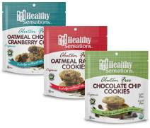 Gluten Free, Organic Cookie Assortment (3-Pack) - Healthy Sensations 5oz Bag - Chocolate Chip, Oatmeal Raisin & Oatmeal Cranberry Chocolate Chip   Dairy & Peanut Free and Kosher