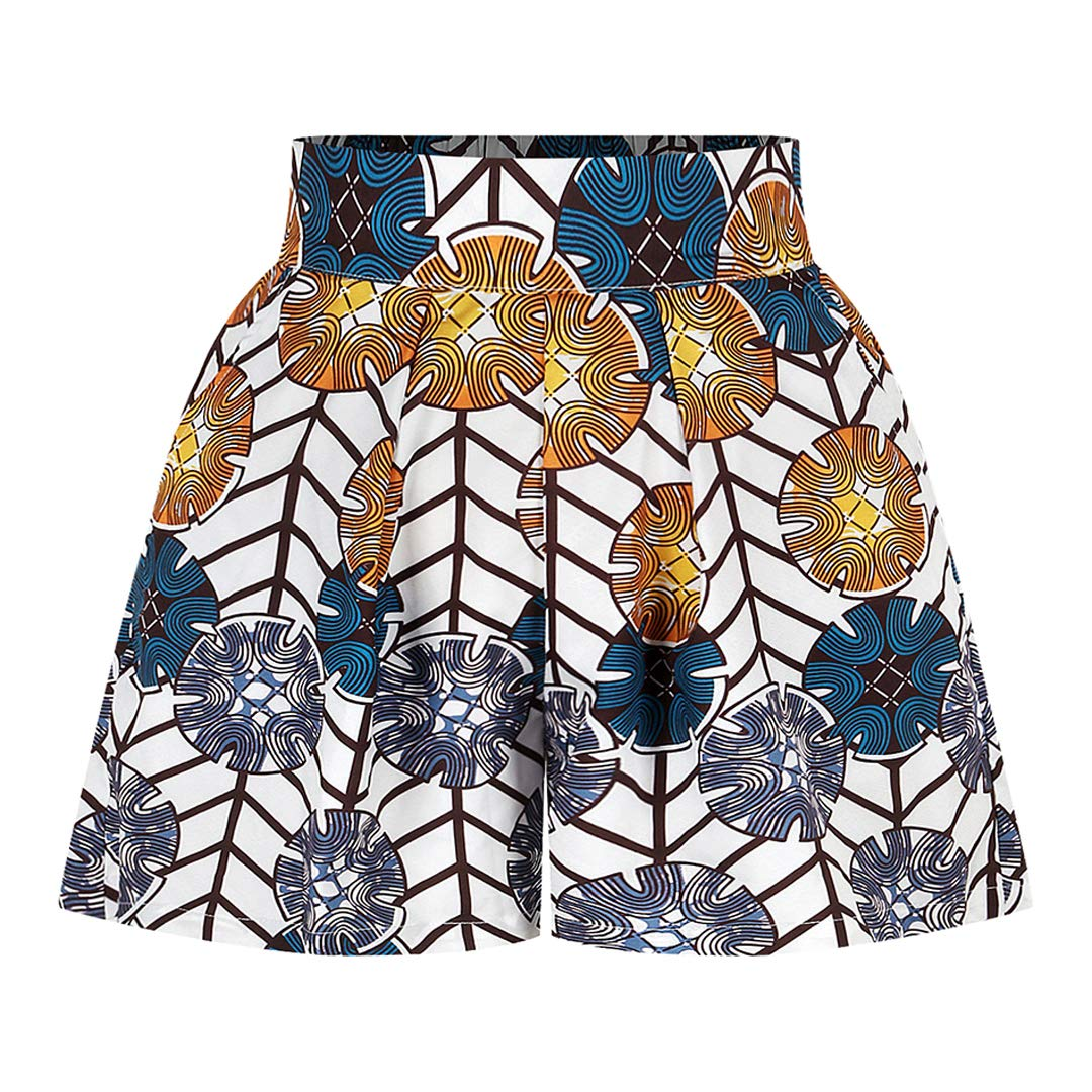Jascaela Womens Casual African Floral Print High Waist Vintage A-line Flared Short Bohemia Style