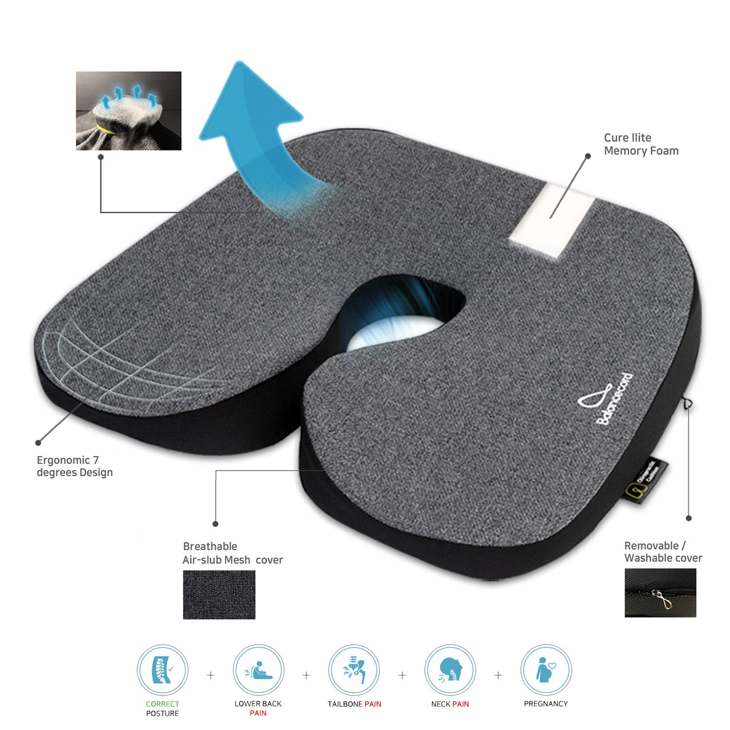 Balancecord Chiropractic Memory Foam Seat Cushion for Office Computer Chair, Non Slip Bottom Ventilated Cover Helps with Coccyx, Tailbone Back Pain Big Size Multi Color