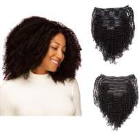 Anrosa Afro Kinky Coily Clip in Hair Extensions Thick Human Hair Extensions Natural Black Hair Color 1B Kinkys Curly Real Virgin Remy Hair 4A 4C Type for African American Black Women 14 Inch 120 Gram