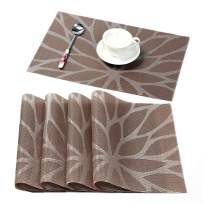 HEBE Placemats for Dining Table Washable Placemat Set of 4 Heat Resistant Woven Vinyl Non-Slip Kitchen Table Mats Wipe Clean(4, Brown)
