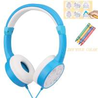 Kids Headphones for Boys,DIY Color Car Earphones with 85dB Volume Limited and 3.5mm Jack for iPad Cellphones Computer MP3/4 Kindle, Children Headset for School,Birthday Gifts(Blue)