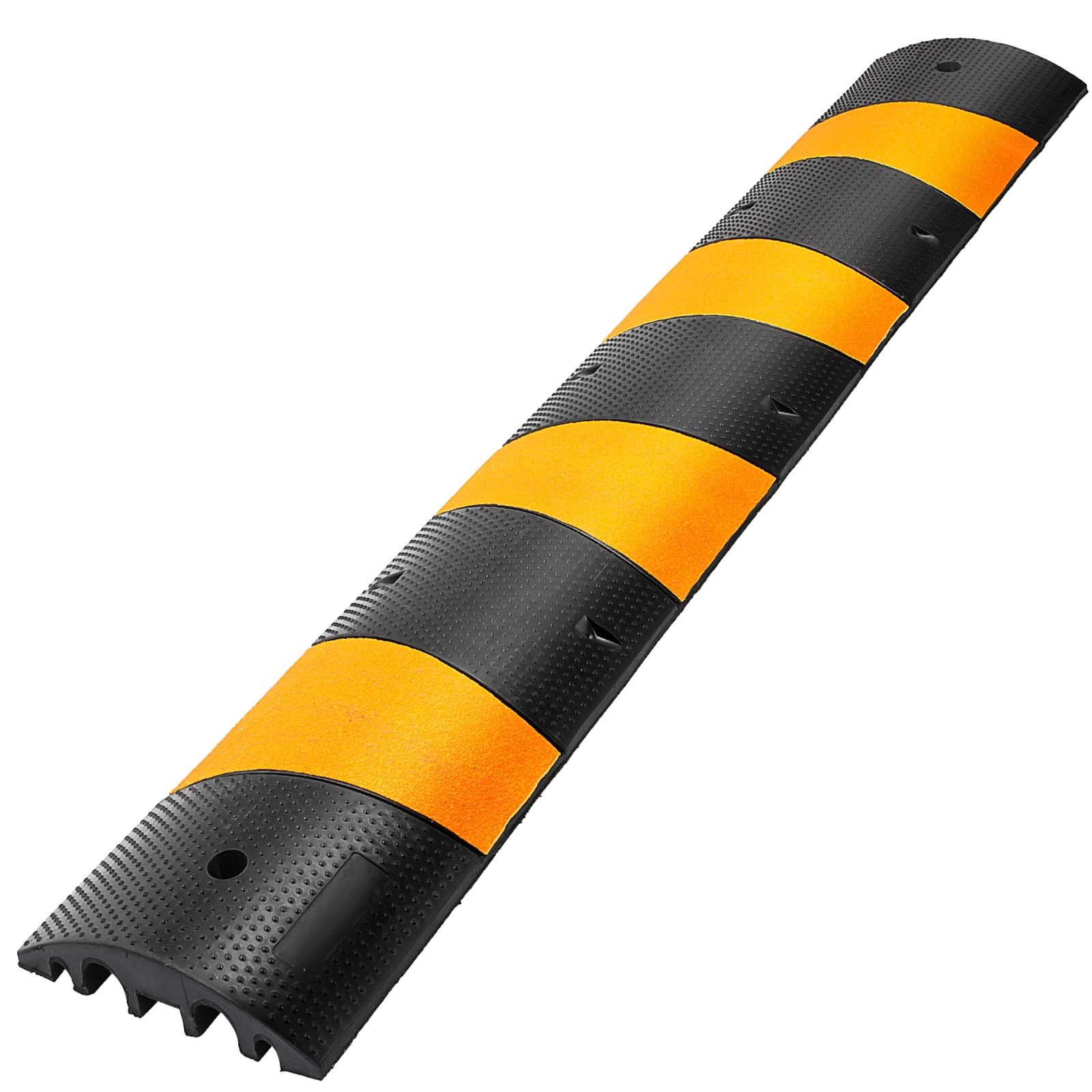 Happybuy 6 Feet Rubber Speed Bump Driveway Heavy Duty Cable Protector Ramp 72.4 x 12 x 2.4 Inch 2-Channel Speed Bumps for Garage Gravel Roads Asphalt Concrete