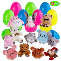 Easter Eggs Filled with Plush Animal Toys (12 Pcs), Cartoon Keychain Toy Set for Easter Theme Party Favor, Easter Eggs Hunt, Basket Filler, Classroom Prize Supplies