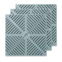 FAVIA 3 Pcs Silicone Trivets Non-Slip Potholders Heat Resistant Drying Mat Waterproof Hot Pads Flexible Spoon Rest BPA Free Dishwasher Safe 6.5inch