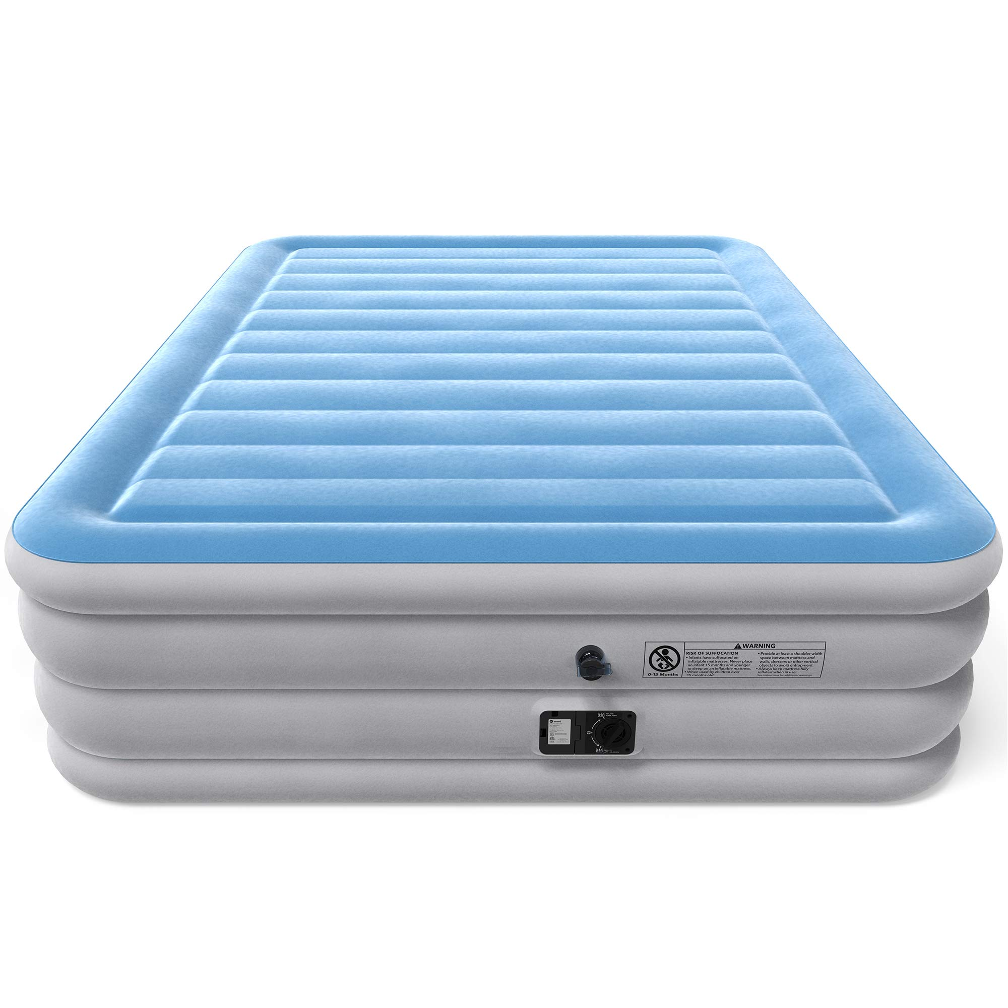Vremi Inflatable Queen Air Mattress With Built In Pump 21 5 Raised Bed Height With Storage Bag For Camping And Travel Premium Flocked Top And Sides