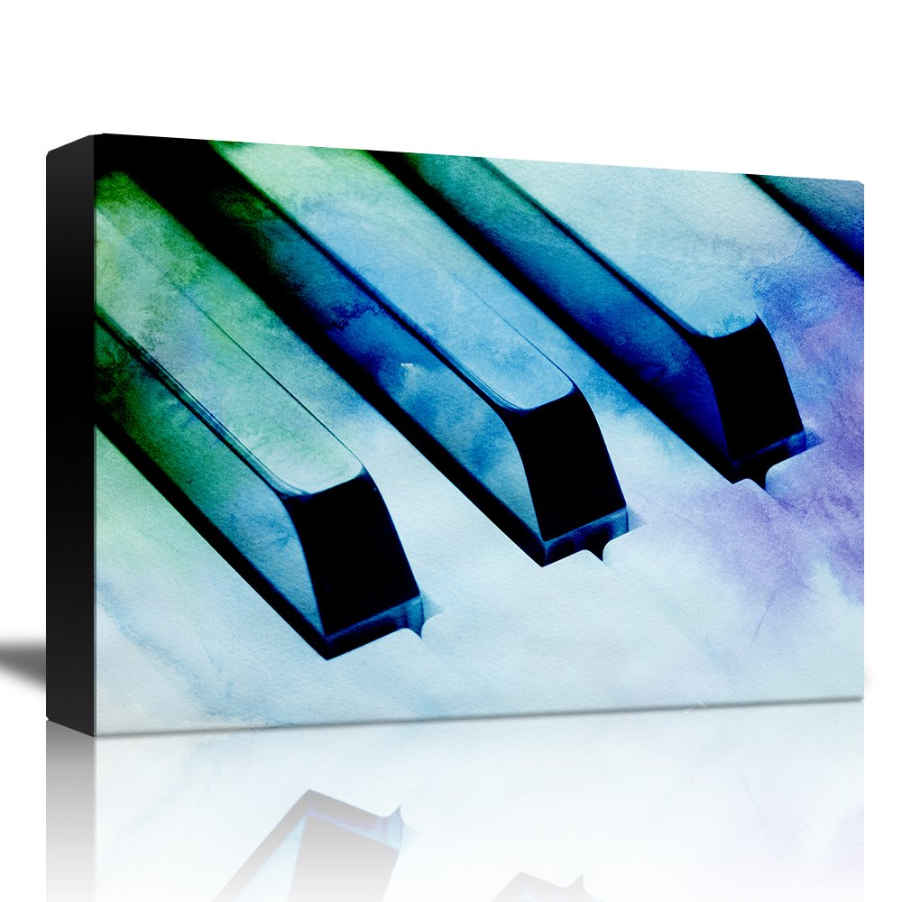 wall26 - Piano with a Blue, Green, and Purple Watercolor Texture - Canvas Art Home Decor - 32x48 inches