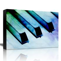 wall26 - Piano with a Blue, Green, and Purple Watercolor Texture - Canvas Art Home Decor - 24x36 inches