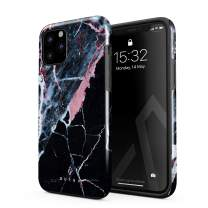 BURGA Phone Case Compatible with iPhone 11 PRO - Hidden Beauty Light Pink Peach and Black Marble Cute Case for Woman Heavy Duty Shockproof Dual Layer Hard Shell + Silicone Protective Cover
