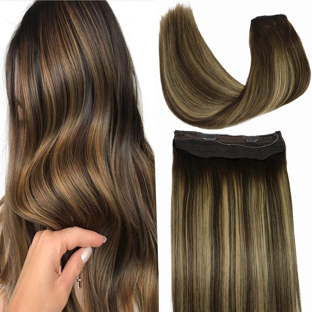 Halo Hair Extensions, 18inch 80g Ombre Chocolate Brown with Honey Blonde Halo Hair Extensions Human Hair,Hidden Crown Hair Extensions Human Hair 100% Human Hair Extensions Flip in Extensions