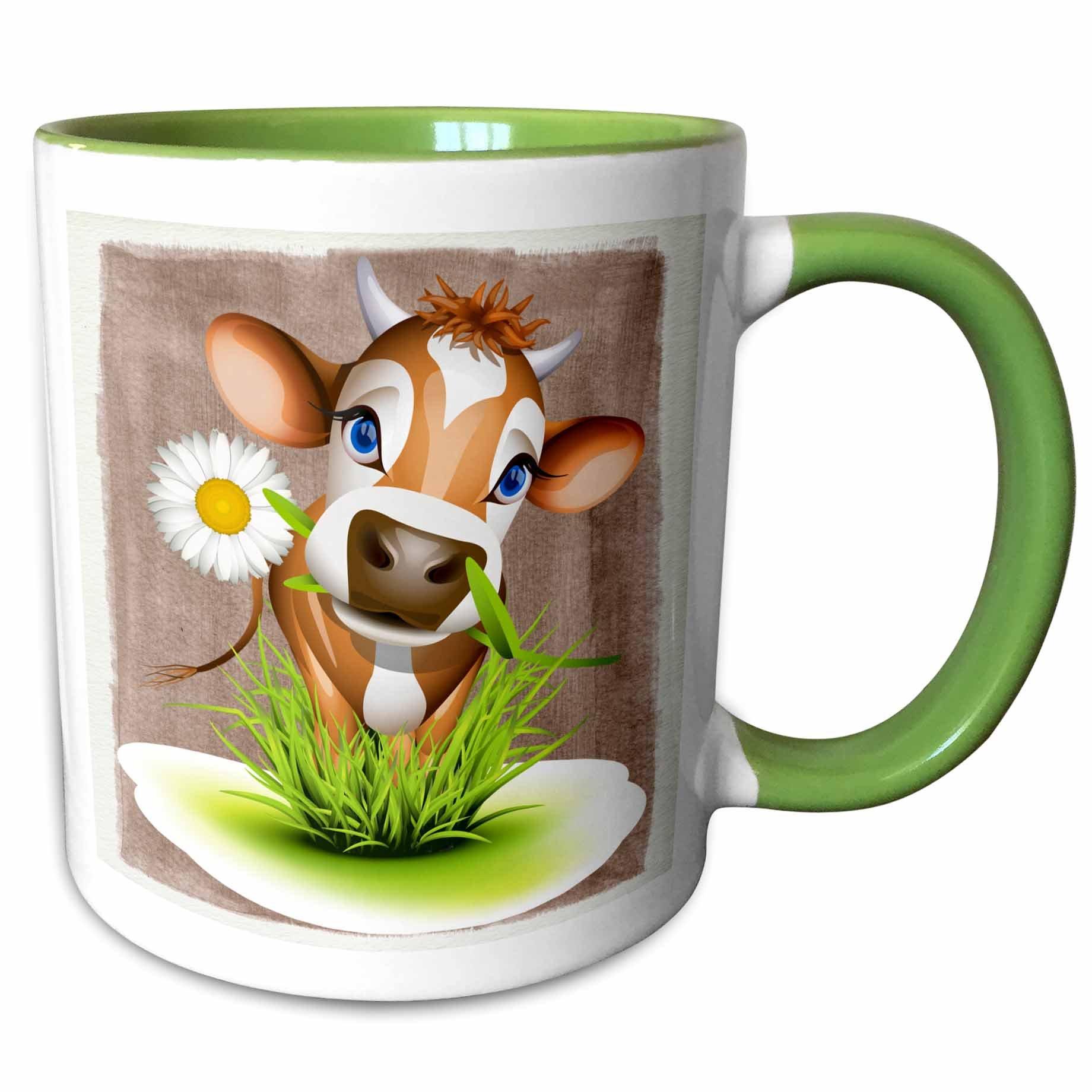 3dRose 110913_7 Mug, 11oz, Green/White