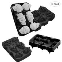 JuneLady Silicone Skull Molds 2 Pack Ice Cube Trays for Whiskey Cocktails and Vodka with Lid