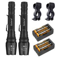 Garberiel 2 Pack 2000 Lumens Tactical LED Flashlight Zoomable Waterproof LED Torch Light with Battery and Charger, Bike Clip