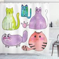 """Ambesonne Kitten Shower Curtain, Hand Drawn Colorful Cartoon Style Print Domestic Cats Pets Paws in Watercolors, Cloth Fabric Bathroom Decor Set with Hooks, 84"""" Long Extra, Lavender"""