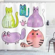 "Ambesonne Kitten Shower Curtain, Hand Drawn Colorful Cartoon Style Print Domestic Cats Pets Paws in Watercolors, Cloth Fabric Bathroom Decor Set with Hooks, 84"" Long Extra, Lavender"