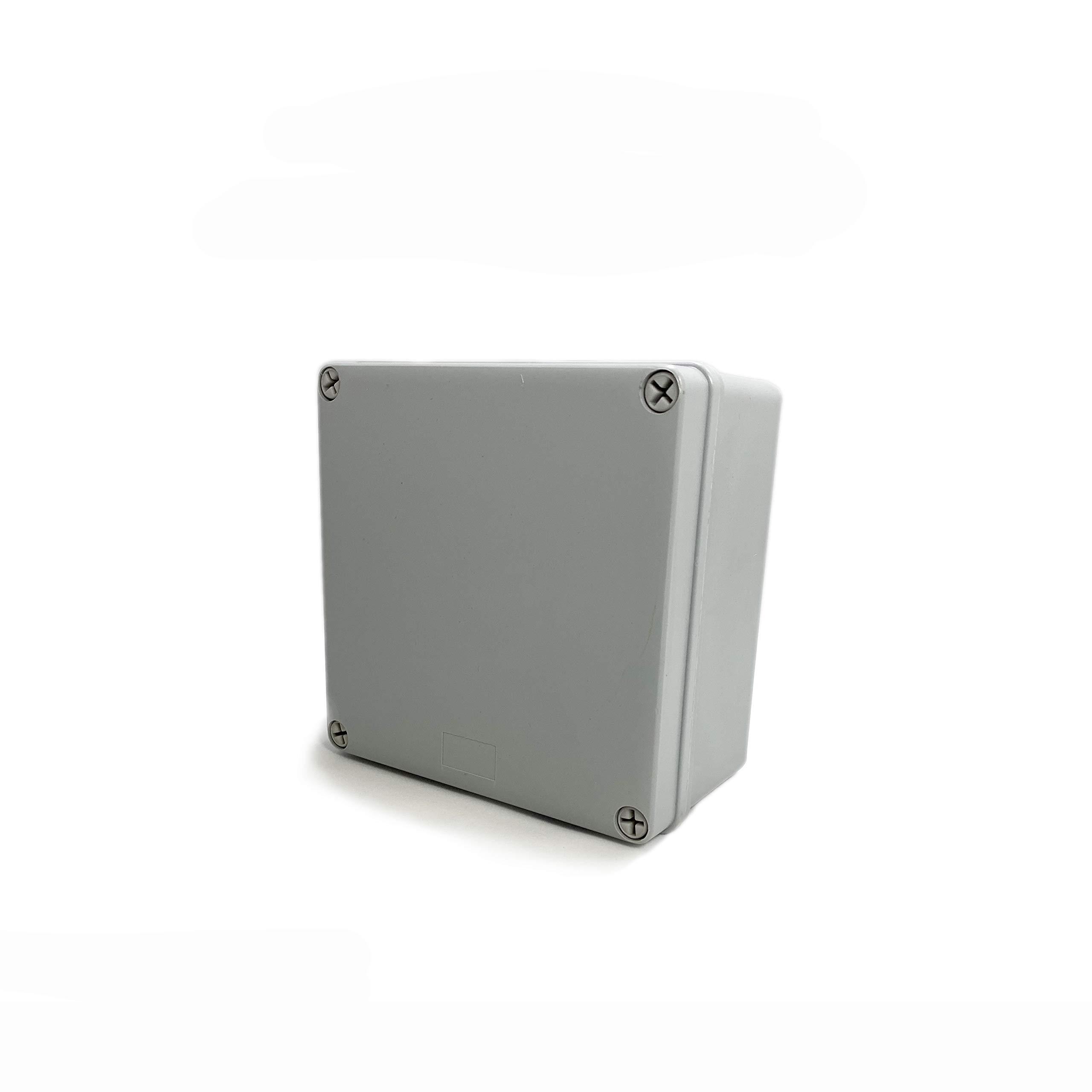 "DJC Supply Co. 4"" x 4"" x 2.4"" Weather & Dust Proof PS Plastic Junction Conduit Box Electronics Enclosure 1 Pack"