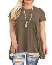 Womens Plus Size Casual Tunic Top Sweatshirt Short Sleeve Blouse T-Shirt Button Decor